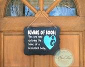 Beware of Boob Breastfeeding Chalkboard Door Sign - Breastfed Baby - Baby Shower Gift - Breastfeeding Mama