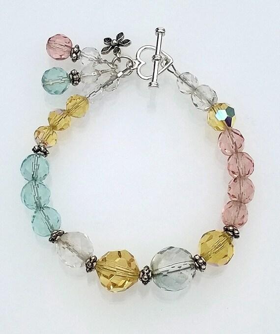 Multi-Color Crystal Bracelet, Pastel Crystal Bracelet