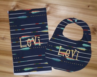 Arrows- Custom Monogrammed - Boutique Bib and Burp Cloth set - Arrow print