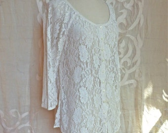 Sheer Lace Button Up Blouse