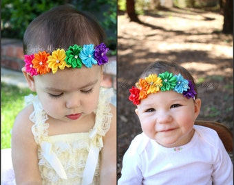 Rainbow Baby headbands, baby girl headbands, flower headband, newborn headbands, infant headbands, rainbow headbands, birthday headbands