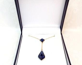Sale! Vintage 9ct Gold Art Deco Blue Sapphire Paste Crystal Lavalier Pendant Necklace