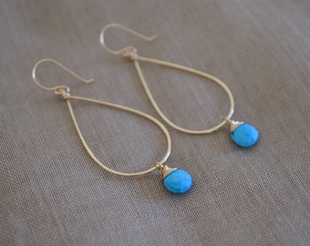 Turquoise Teardrop Hoop Earrings, Gold Filled
