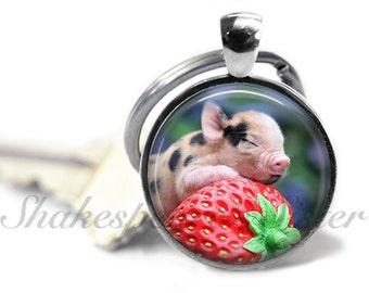 Pig Key Chain - Strawberry Pig - Pig Keychain - Animal Lover Gift - Key Chain - Keychain