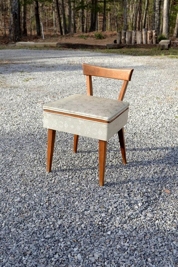 Mid Century Sewing Chair Vintage Vanity Seat With Storage