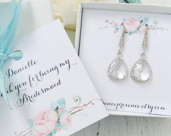 SET of 6 Bridesmaids Earrings silver Bridesmaid Gift Bridesmaid jewelry set of 6