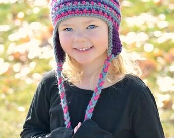Kiddos Striped Ear flap Hat, Baby, Toddler & Kids sizes, Choose your own colors, Kids Winter Hat, Toddler Winter Hat, Child Ski Hat