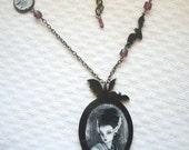 Bride of Frankenstein necklace with my original illustration, horror movie, bat necklace, halloween necklace, gothic jewelry, goth jewelry
