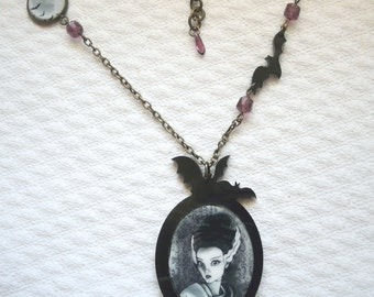 SOLD OUT - Bride of Frankenstein necklace with my original illustration, horror movie, batS, halloween necklace, gothic jewelry, goth