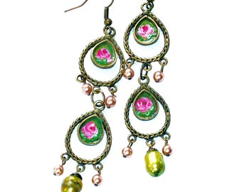 Boho Chandelier Earrings Hand Painted Roses Romantic Bohemian Jewelry