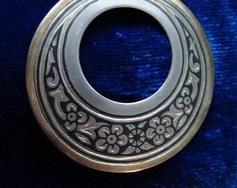Soviet silver and black enamel circle brooch