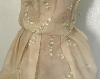Vintage 50s sheer floral embroidered dress