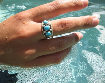 Navajo Signed Turquoise and Sterling Man's Band Ring Size 11