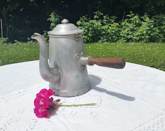 French vintage Coffee Pot ,  Aluminum coffee pot,kitchen decor,wooden handle