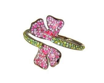 KJL Pink Green Pave Rhinestone Petal Clamper Bracelet Kenneth Lane