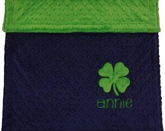 Personalized Baby minky blanket with Shamrock,Shamrock Baby Gift, Irish Baby Blanket, Baby Gift,Baby Shower Gift,Irish Newborn Gift