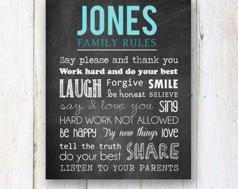 Chalkboard Family Rules sign - Custom Family Rules Sign Wall Art - DIGITAL file!