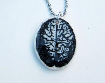 Brain pendant porcelain statement  anatomy science