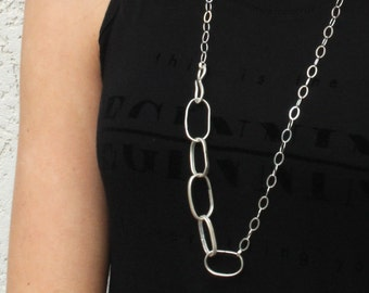 Long Silver Necklace with Large links, long Sterling silver chain necklace