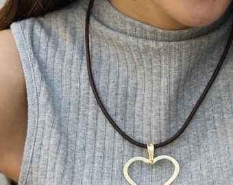 Gold Heart Necklace, Large Heart Necklace Gold, Romantic Jewelry, Love Jewelry, Large Gold Heart Necklace