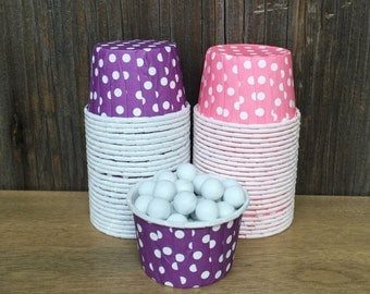 Purple and Pink Paper Snack Cups - Set of 48 - Polka Dot Candy Cup - Birthday Party - Mini Ice Cream Cup - Paper Nut Cup - Same Day Shipping