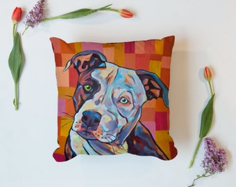 Pitt Bull Throw Pillow, Pitty, Staffy, Stafordshire, Dog, Cute, Puppy, Bag, pillow, living room, pdecor, modern, bright, fun, color