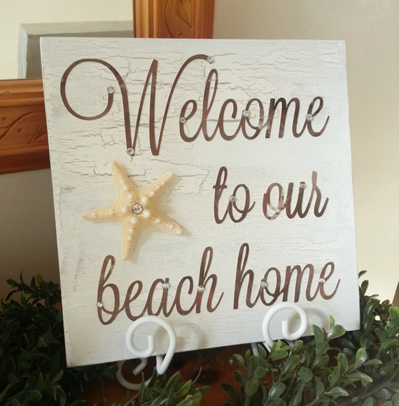Welcome To Our Beach House Sign: Beach Decor. Beach House Welcome Sign With By