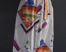 Vintage skirt/wrap around skirt/midi skirt/palm tree print/tropical skirt/white skirt/80s/geometric print/90s/wrap skirt/apron skirt