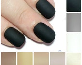 Petite Acrylic Press On Nails - 24 Extra Small Matte Black Fake Nails - SMALL SIZES ONLY - Glue On False Nails - Artificial Acrylic Nails