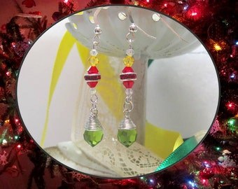 Brilliant Swarovski-Accented Christmas Earrings, Sterling Silver Earwires