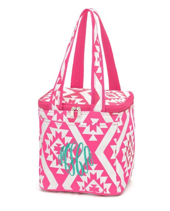 Monogrammed personalized pink aztec cooler lunch tote