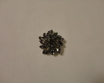 "SALE Vintage Grey Rhinestone Button Prong Set Rhinestone Button Awesome 1 3/4"" Rhinestone Metal Hook Button"