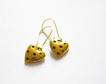 Cute Dotty Heart Gold Tone Drop Earrings