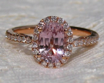 Peachy Pink Sapphire in Rose Gold Diamond Halo Engagement Ring, Rose Gold Engagement Ring, Peach Sapphire Engagement Ring
