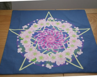 Altar Cloth or Tarot Cloth - Beltane Apple Blossoms & Pentacle - Pagan Altar Cloth, Ritual, Wicca Altar Cloth, Mayday, Wheel of the Year