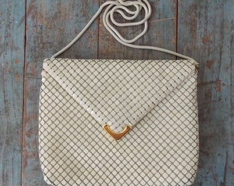 Vintage metal mesh purse, off white handbag, mesh evening bag, beige purse, vintage mesh purse.