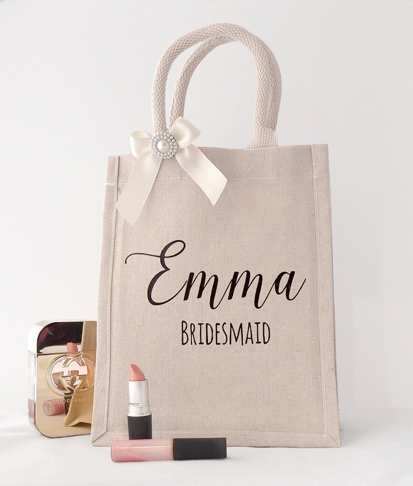 Rustic ivory pearl bridesmaid gift bag for Gifts for bridesmaids from bride