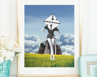 Collage art print - Quirky poster - Artistic Side of Life