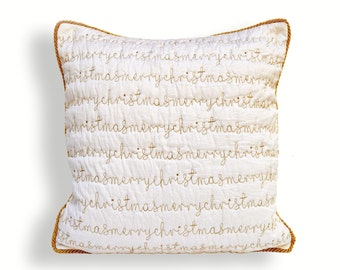 "Christmas pillow cover, white and gold, script, merry Christmas, quilted, embroidered pillow size 16""X 16"""