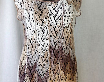 Hand-knitted blouse from multi-colored white, yellow & brown bamboo