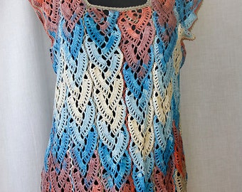 Hand-knitted blouse from multi-colored white, blue & red bamboo
