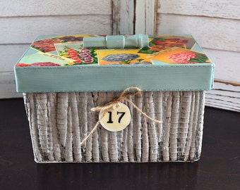 Painted Decorative Storage Box with Vintage Flower Seed Labels