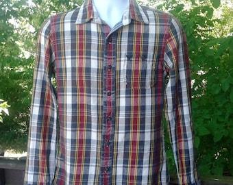 Vintage Mens Flannel, Red & White Plaid Flannel Shirt, American Eagle Flannel Shirt, Thick Flannel Shirt, Womens Flannel Shirt, Mens Size XS