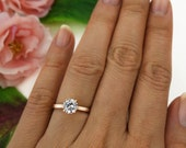 1 ct 4 Prong Classic Solitaire Ring, Round Engagement Ring, Man Made Diamond Simulant, Bridal Ring, Sterling Silver, Rose Gold Plated