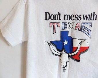 1980's Youth Funny Texas T-Shirt Vintage White Red Blue American Flag Colors Child's Vintage Shirt