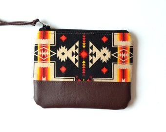 Black Change Purse, Small Gift for Him, Mens Coin Purse, Leather Card Holder, Tribal Zipper Pouch, Leather Coin Wallet, Southwestern Bag