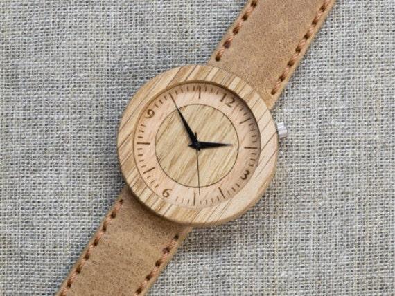 Far Eastern Oak DESIGNER wood watch, Best minimal Watch,  Sand Genuine Leather strap + Any Engraving / Gift Box. Anniversary  gift