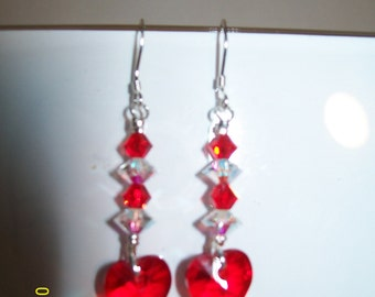 Romantic Genuine Swarovski Crystal Heart and Sterling Silver Earrings for Your Valentine/Free Ship