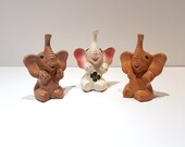Three Vintage Elephants, Elephant Ring Holders, Ceramic Elephant Statue's, Lucky Elephants, Vintage Elephants, Elephant Figurines