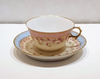 Hand Gilded M Redon Limoges Teacup and Saucer marked M R France made in Limoges France presented by Donellensvintage